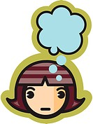 Woman with thought bubble above her head