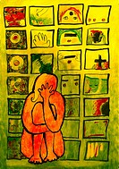 A woman hugging her knees in front of a wall filled with her concerning issues (thumbnail)