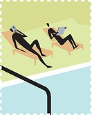 Two people using wireless technology by the pool (thumbnail)