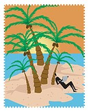 A person checking emails on an island