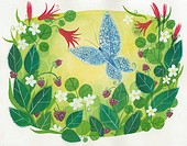 A butterfly flying among flowers (thumbnail)