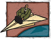 A businessman traveling on a paper airplane (thumbnail)