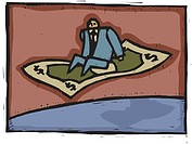 A man flying on money carpet