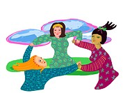 Three women twirling in a circle