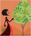 A woman plucking bank notes from a money tree