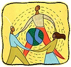 people holding hands around a globe