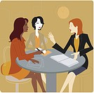 Three businesswomen having a meeting (thumbnail)