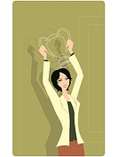 Businesswoman holding a trophy (thumbnail)