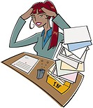 Frustrated businesswoman with a full inbox