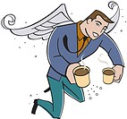 Office angel delivering coffee
