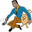 Businessman using his palm pilot and playing with his dog