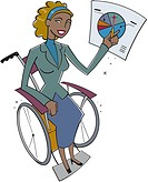 A businesswoman in a wheelchair pointing to a pie chart