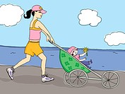 Mother jogging with her daughter (thumbnail)