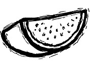 A black and white illustration of a slice of watermelon