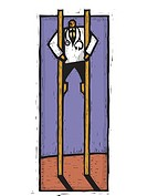 A doctor standing on stilts (thumbnail)