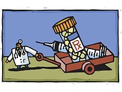 A doctor dragging a wagon full of medication and a syringe