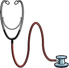 A stethoscope represented on white background