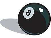A black eight ball on a white background