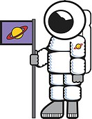 An astronaut in a space suit and holding a flag