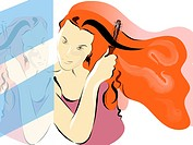 Illustration of a woman brushing her long red hair