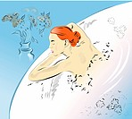 Illustration of a woman in bath tub (thumbnail)