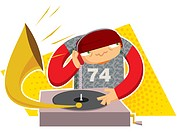 Drawing of a DJ composing music