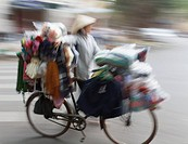 Vietnam, Asia, Hanoi, woman, Female, street, vendor, Hanoi, Southeast Asia, Indochina, capital city, pushing, bicycle,