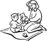 A black and white drawing of a mother playing with her child