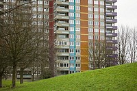 Colourful tower block
