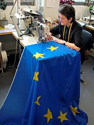 Woman sews European Union flag
