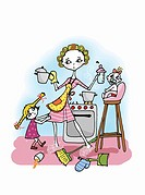 Woman in kitchen with two kids, cooking