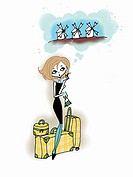 Young woman with luggage dreaming of vacation
