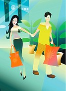 Young couple walking with their shopping bags holding hands