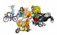 Various two-wheeled vehicles and their owners