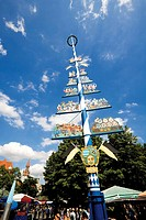 Germany, Bavaria, Munich, Maypole on Viktualienmarkt