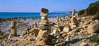 Italy, stacked Sardinia Golfo di´Orosei La Bidderosa island mounds, destination, coast, beach, sea, Mediterranean, rocks, stones, stony, deserted, nat...
