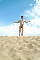 Man, suit, beach, stands, joy, gesture,
