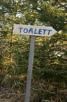 Sweden, forest, sign, direction sign, toilet,