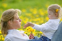 Mother, daughter, flower meadow, lie, cheerfully, detail, at the side, people, woman, child, girl, blond, plays, joy, happily, flowers, dandelion, lov...