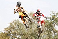 Motocrossfahrer, two, jump, people, motorcyclists, motorcycles, Crossmaschinen, Crossmotorräder, Crossfahrer, drives, Offroad, races, Motocross, skill...