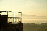 Italy, Umbrien, Civitella d´Agliano, hill-landscape, residence, balcony, morning-mood, landscape, house, terrace, view-balcony, nature, silence, silen...