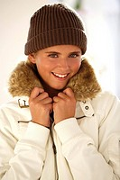 Woman, young, cap, jacket, smiling, portrait, series, people winter-jacket art-fur-collars fur-collars fur-collars, art-fur-collars, rope-cap, headgea...