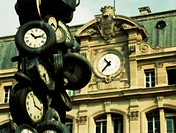 L'heure de tous (1985), sculpture by Arman (Armand Pierre Fernandez, 1928-2005), Gare Saint-Lazare (Saint Lazare railway station), Paris. France (May ...