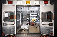 Ambulance with rear doors open