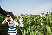 Middle Eastern people using cell phones in corn field