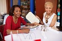 Senior African American women at restaurant