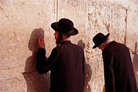 Orthodox Jews praying at the Western Wall, Jerusalem. Israel