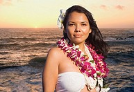 Pacific Islander woman wearing lei
