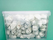 Plastic box full of marshmallow rats