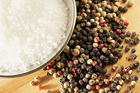 Peppercorns and rock salt
